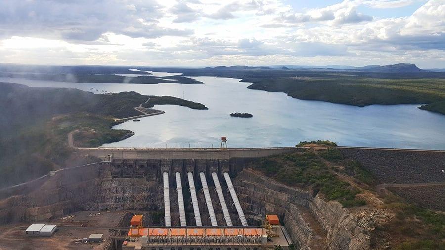 vista aérea hidrelétrica do xingó prefiro viajar