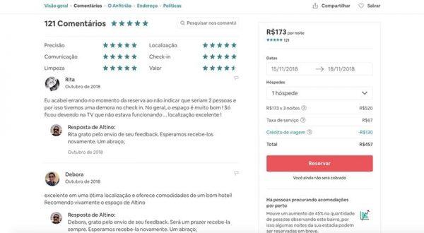 airbnb comentarios