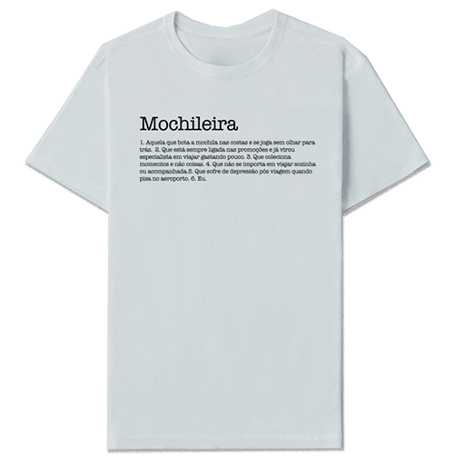 camiseta mochileira branca