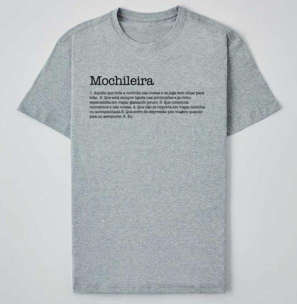 camiseta mochileira cinza