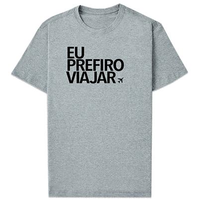 camiseta prefiro viajar cinza