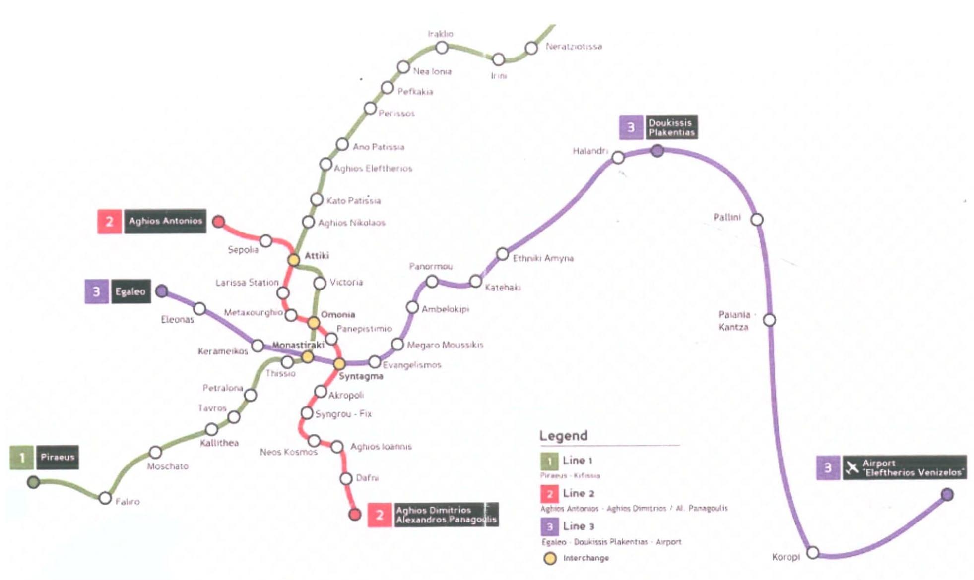 mapa metro atenas