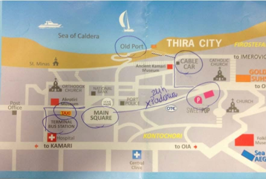 mapa thira santorini