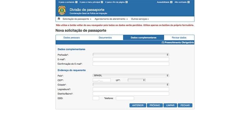 como solicitar passaporte brasileiro